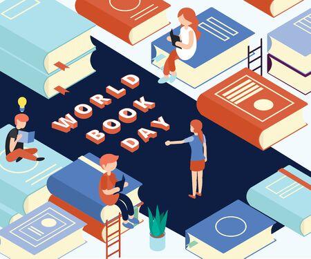 Isometric artwork concept of world bookday