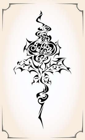 rosas negras: Tribal flor de la llama del tatuaje con hojas puntiagudas