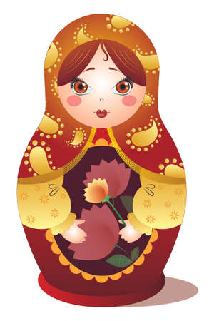 Russian doll matryoshka red and golden  with flowers