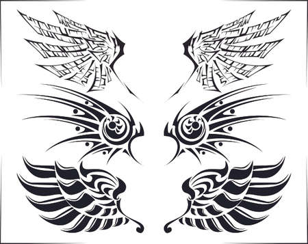 flame wings: Cool tribal tattoo wings set of three