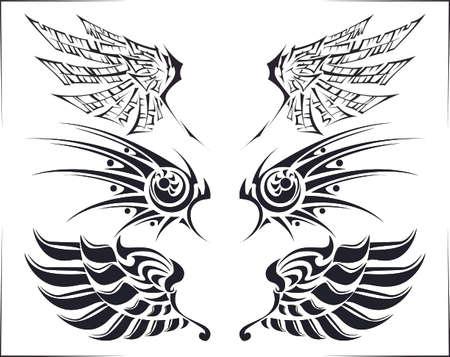 Cool tribal tattoo wings set of three