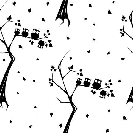 round eyes: Owls with round eyes on branches seamless pattern