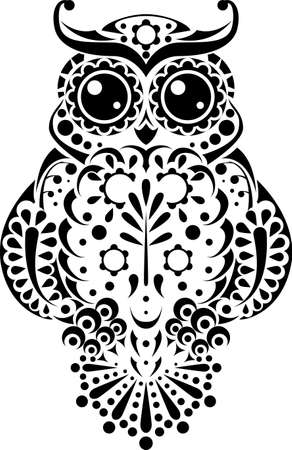 round eyes: Pretty owl with floral pattern and sweet round eyes