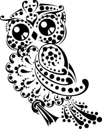 sowa: Ładny i elegancki kwiatowy sowa dla tattoo tribal i dekoracji