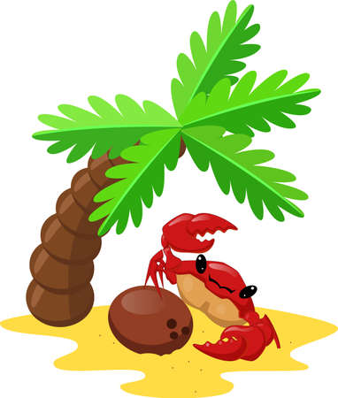 Cute cartoon crab with coconut under palm