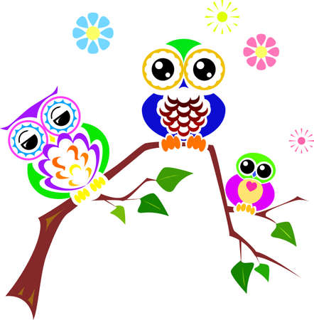 Cheerful and round eyed owls for cards and decoration