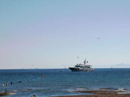Pleasure yacht in the Red Sea near Eilat, Israel.