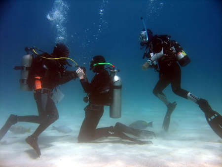 A scuba student practicing taking air from the instructor while another student watches.