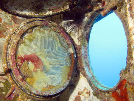 A porthole from inside a wreck. shot in the Red Sea 18102008