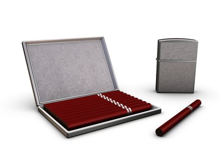 Cigarette-case, lighter and ten cigarettes Stock Photo