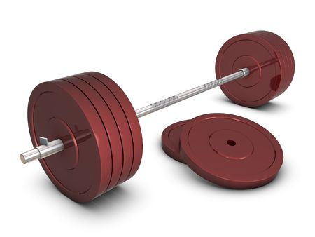 Red weight with silver bar Stock Photo - 6062140
