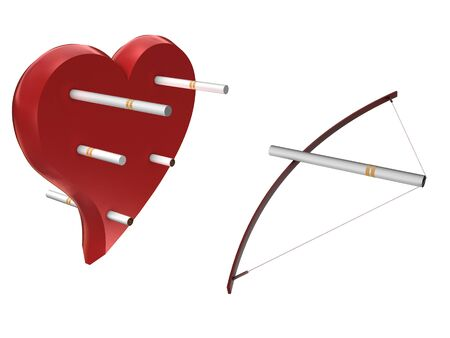 Heart,cigarettes and bow isolated on white