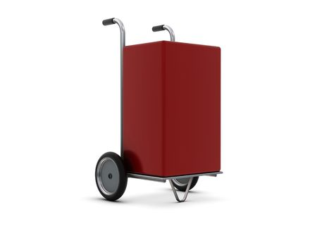 sacktruck: Delivery cart with red box