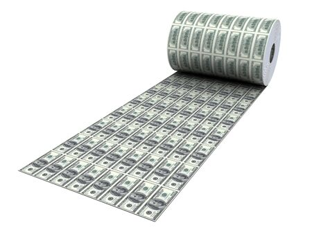 Dollar banknotes in roll isolated on white photo
