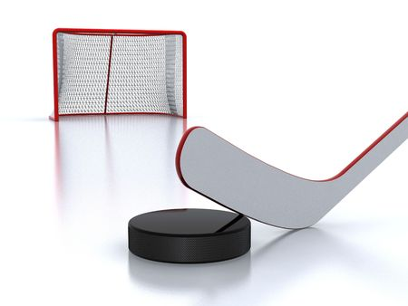 hockey stick: Hockey stick,puck and goal Stock Photo
