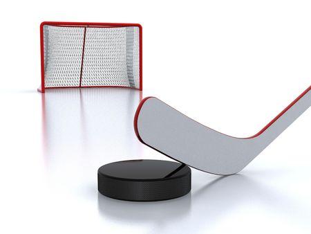 hockey goal: Hockey stick,puck and goal Stock Photo