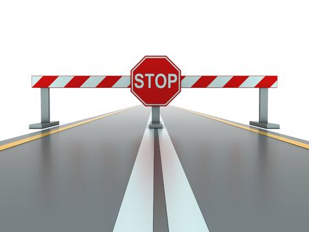 roadwork: Segment of closed road with stop sign