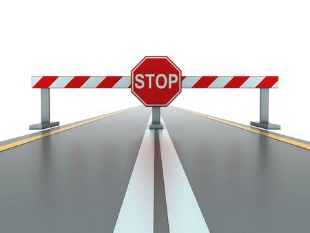 segmento: Segmento di strada chiusa con segnale di stop  Archivio Fotografico