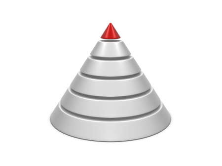 commissions: Cone chart red-white isolated on white background