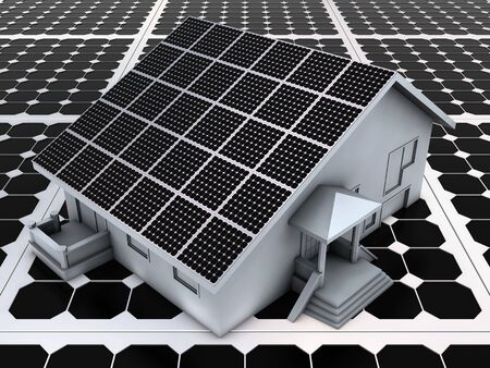 photovoltaic: Abstract house model on the solar panels