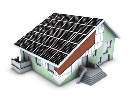 solar panel house: House model with polystyrene block and solar panels isolated on white background