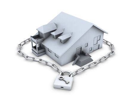robando: House, cadena, candado cerrado y clave aisladas sobre fondo blanco