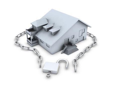 House, chain, opened padlock and key isolated on white background photo