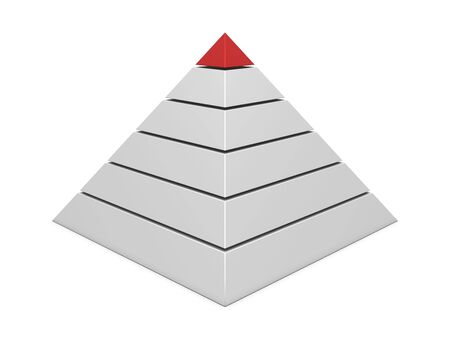commissions: Pyramid chart red-white isolated on white background