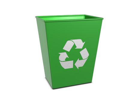 reusable: Green recycle can isolated on white background Stock Photo