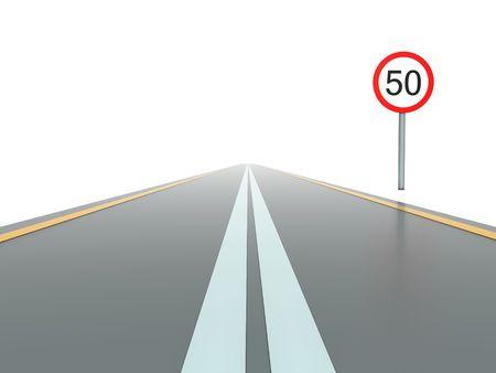 segmento: Segmento de la carretera recta abierto con signo  Foto de archivo