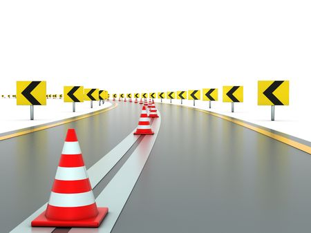 the sides: Road with signs on both sides left and traffic cones Stock Photo