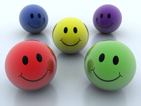 Group of colorful smiley balls on background photo
