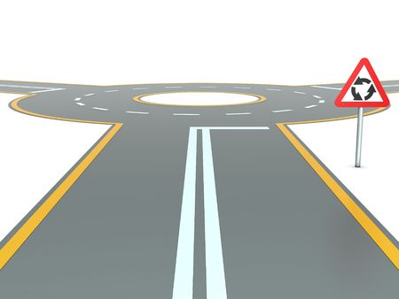 roundabout: Abstract traffic circle with warning sign and three roads Stock Photo