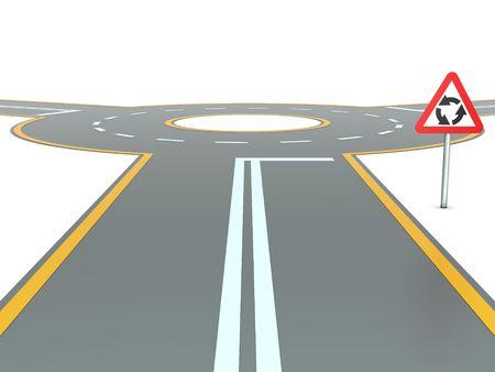 Abstracte rotonde met waarschuwingsbord en drie wegen