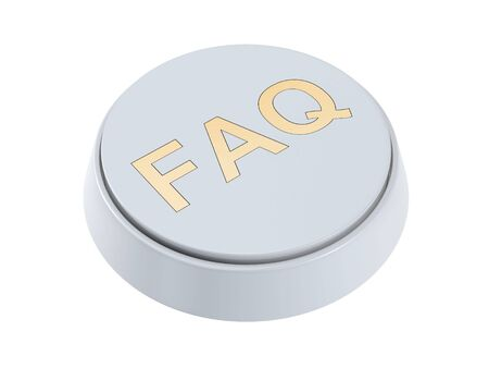 White FAQ button isolated on white background Stock Photo - 7034651