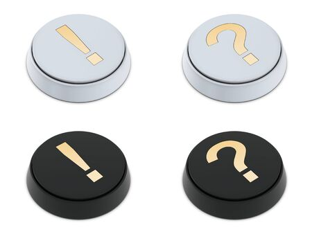 Question and exclamation mark buttons white and black isolated on white photo