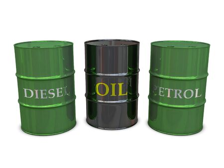 Diesel, Oil and Petrol barrels isolated on white background photo