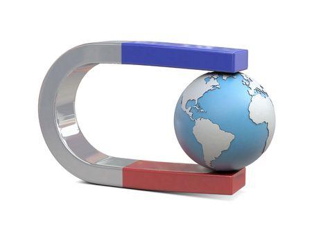 Magnet und Erde isoliert auf weißem Hintergrund