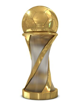 background trophy: Golden soccer trophy with ball isolated on white background Stock Photo