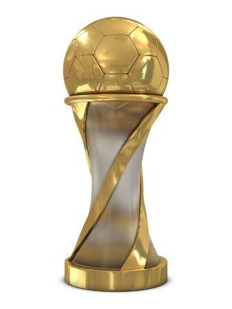 trophy winner: Golden soccer trophy with ball isolated on white background Reklamní fotografie