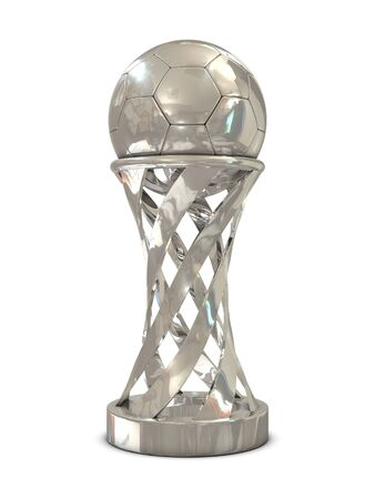 Silver soccer trophy isolated on white background photo