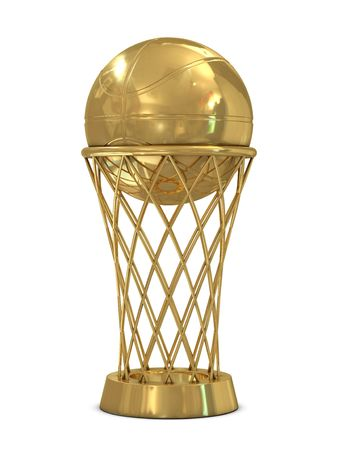 Golden basketball award trophy with ball and net isolated on white photo