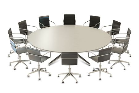 round table: Round table with chairs isolated on white background Stock Photo