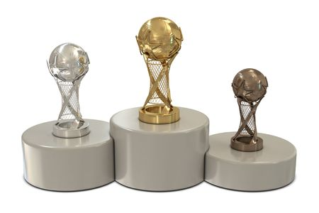 Basketball trophies and round podium isolated on white background photo