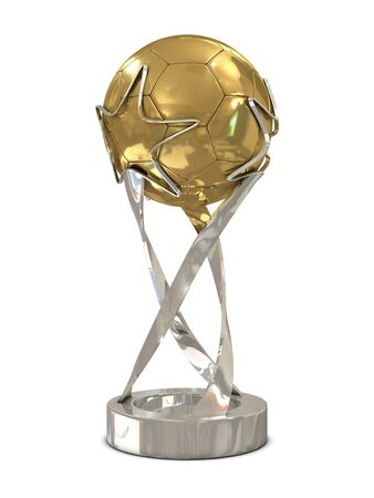 Golden - silver soccer trophy with stars isolated on white background photo