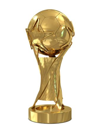 football trophy: Golden soccer trophy with stars isolated on white background Stock Photo