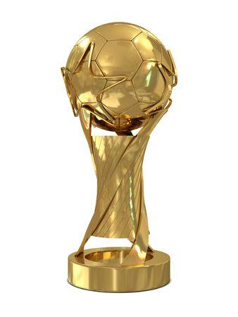 trofeo: Trofeo de oro de f�tbol con estrellas aisladas sobre fondo blanco