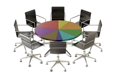 boardroom meeting: Pie chart table with chairs isolated on white background Stock Photo