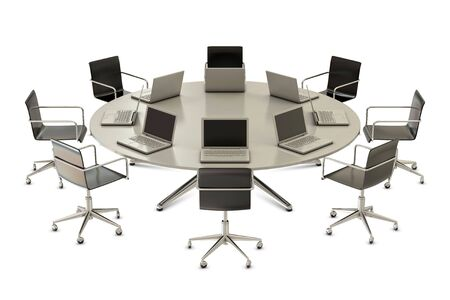 boardroom meeting: Round table with chairs and laptops isolated on white background