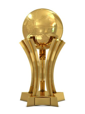 Golden basketball award trophy with ball and stars isolated on white photo